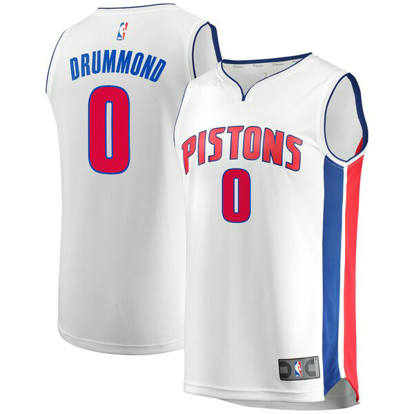 Camiseta nba Andre Drummond 0 Association Edition Blanco Detroit Pistons Hombre