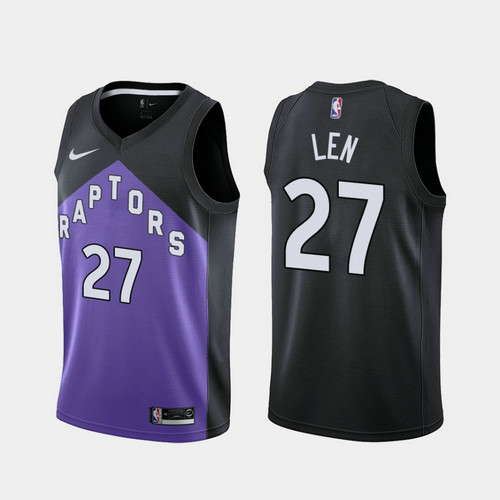 Camiseta nba Alex Len 27 2020-21 Earned Edition morado Toronto Raptors Hombre