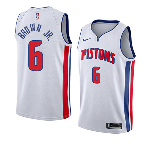 Camiseta nba Bruce Brown JR. 6 Association 2018 Blanco Detroit Pistons Hombre
