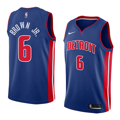 Camiseta nba Bruce Brown JR. 6 Icon 2018 Azul Detroit Pistons Hombre