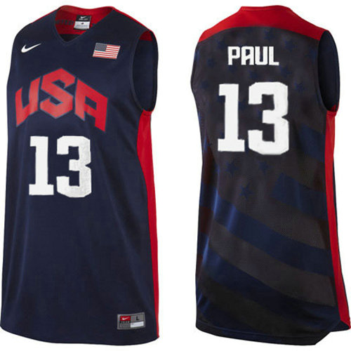 Camiseta nba Chris Paul 13 Negro USA 2012 Hombre