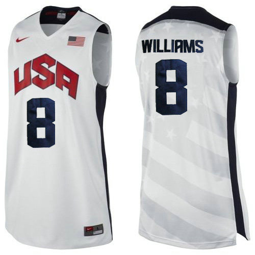 Camiseta nba Deron Williams 8 Blanco USA 2012 Hombre