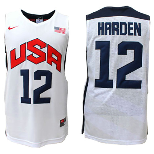 Camiseta nba James Harden 12 Blanco USA 2012 Hombre