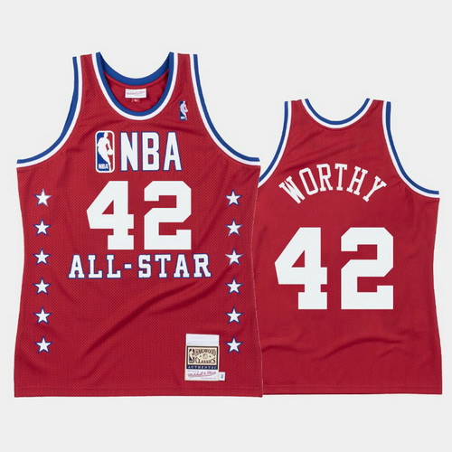 Camiseta nba James Worthy 42 All Star 1988 Rojo Los Angeles Lakers Hombre