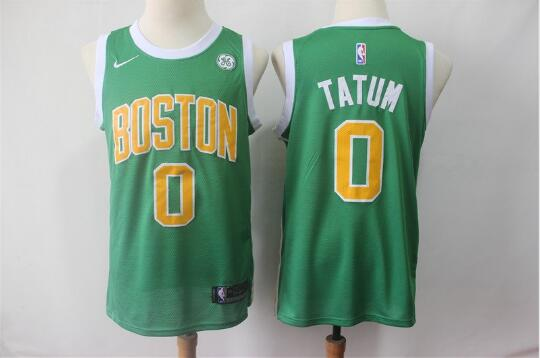 Camiseta nba Jayson Tatum 0 Earned Edition Verde Boston Celtics Hombre