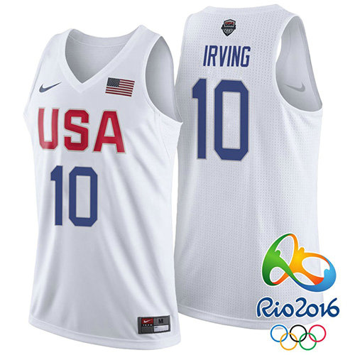 Camiseta nba Kyrie Irving 10 Blanco USA 2016 Hombre