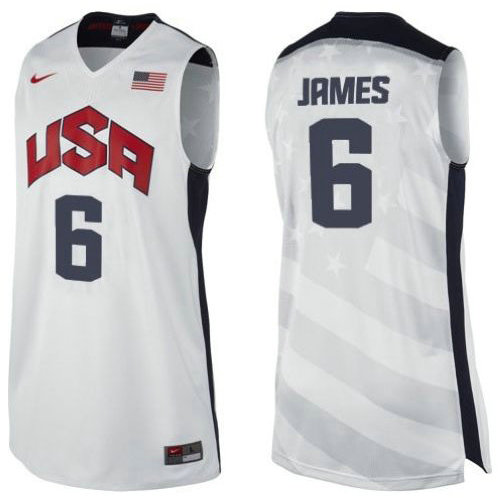Camiseta nba Lebron James 6 Blanco USA 2012 Hombre