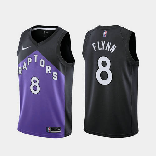 Camiseta nba Malachi Flynn 8 2020-21 Earned Edition morado Toronto Raptors Hombre