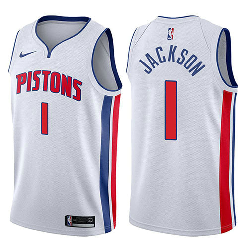 Camiseta nba Reggie Jackson 1 Association 2017-18 Blanco Detroit Pistons Hombre