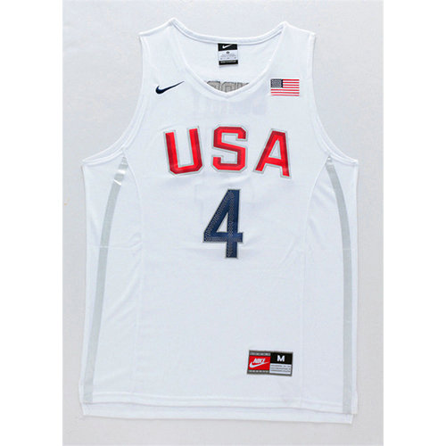 Camiseta nba Stephen Curry 4 Blanco USA 2016 Hombre